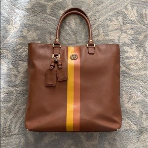 Tory Burch Large Stripe Tan Brown Luggage Tote